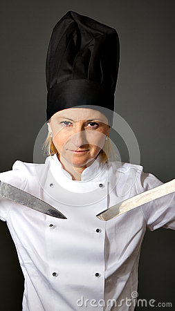 Woman cook chef ready for sushi