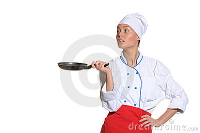 Woman-cook with frying pan