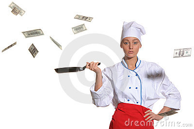 Woman-cook frying pan catches money