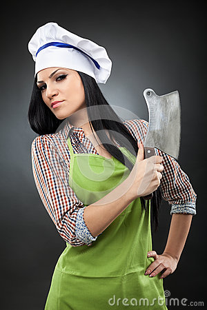 Woman cook holding a meat chopper