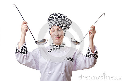 Woman cook with ladle