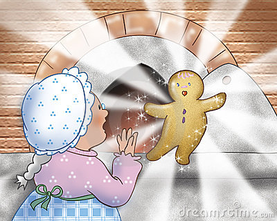 Woman cooking a Gingerbread boy