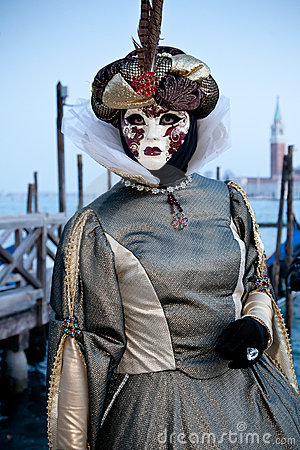 Woman in costume on Venetian carnival Editorial Photo