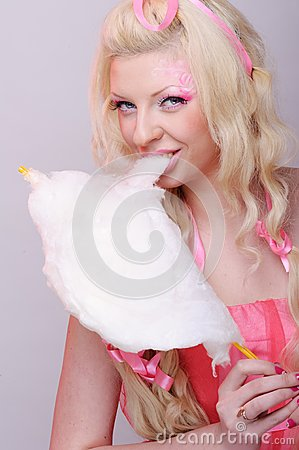 Woman with cotton candy