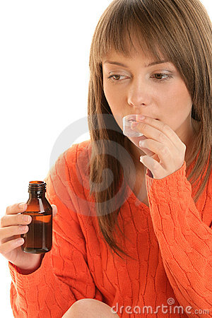 Woman with cough syrup