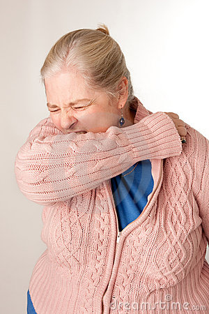 Woman Coughing/Sneezing into Elbow