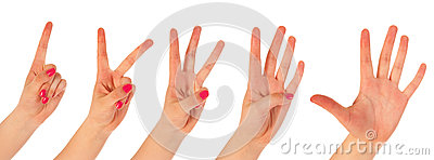 Woman counting with fingers