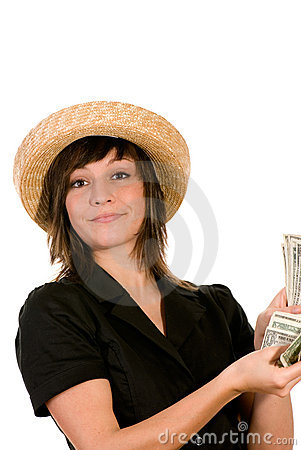Woman counting her cash