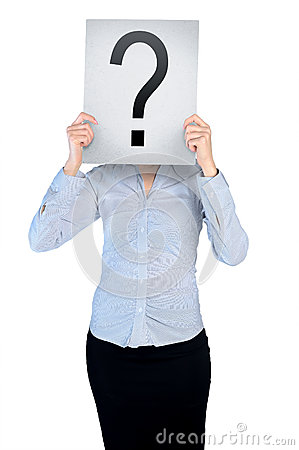 Free Woman Cover Face With Question Board Stock Photography - 49408072