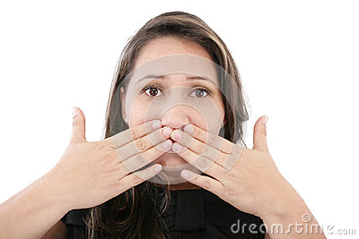 Woman covering the face