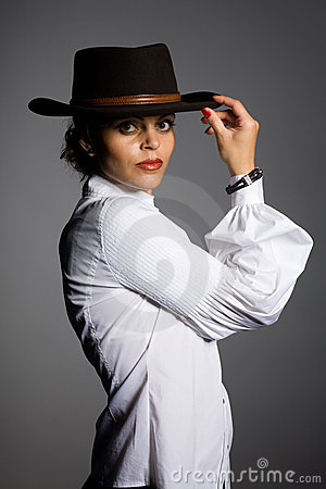 Woman in a cowboy hat.