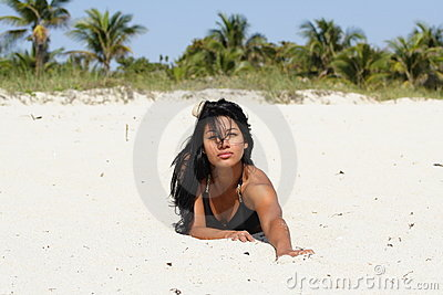 Woman Crawling on the Beach