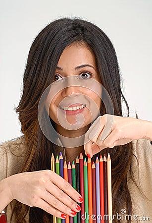 Woman crayon.