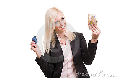 Woman with a credit card and cash in her hand
