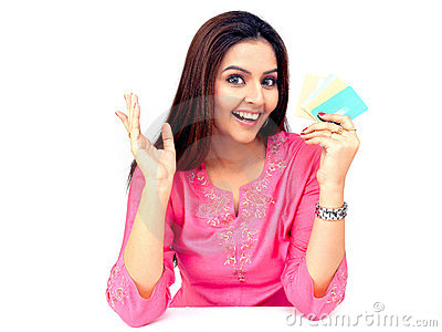 Woman with a credit cards