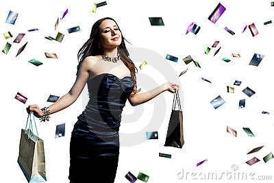 Woman with credit cards raining over her