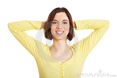 Woman crossing arms behind her head