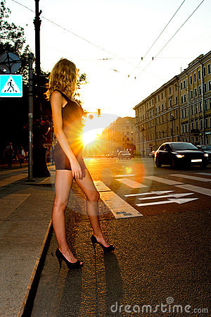 Woman crossing road