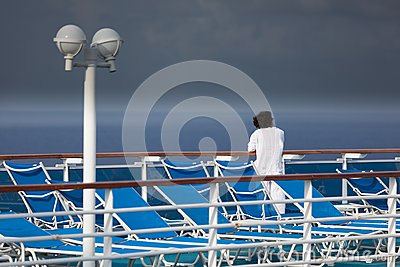 Woman on a cruise ship deck
