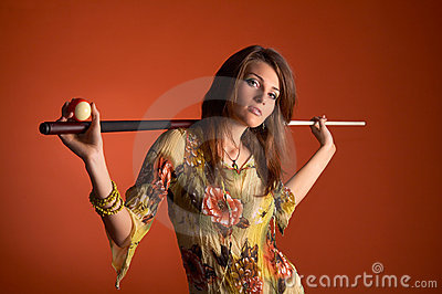 Woman with cue