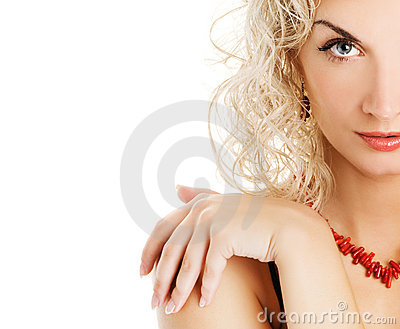 Woman with curl blond hair