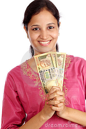 Woman with currency