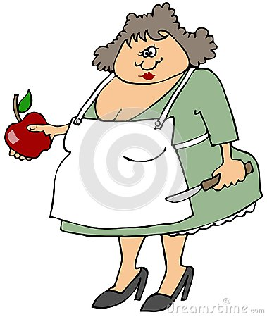 Woman cutting an apple