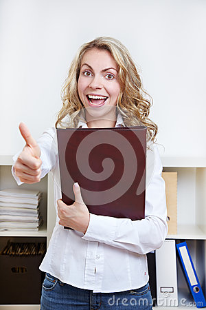 Woman with CV holding thumbs up
