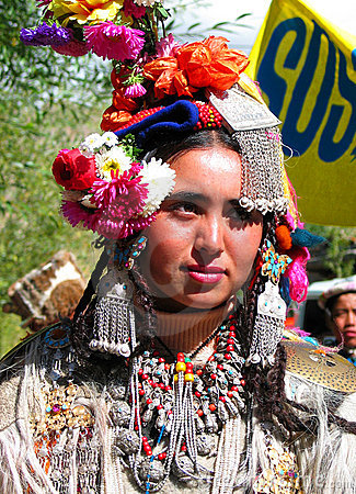 Woman from Dah & Hanu at ladakh festival Editorial Photo