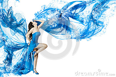 Woman dance in blue water dress