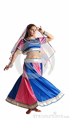 Woman dance in motion - oriental arabian costume