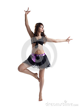 Woman dance in sexy costume isolated