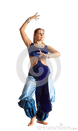 Woman dance in traditional arabia costume