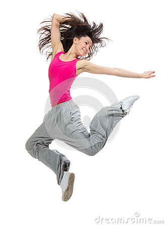 Woman dancer jumping dancing