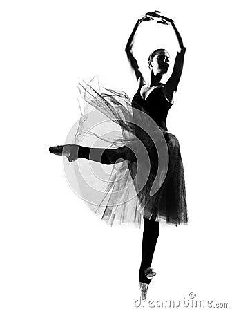 Woman dancer leap dancing ballerina silhouette