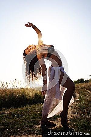 Woman dancing belly dance
