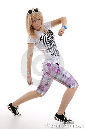 Woman is dancing hip-hop.