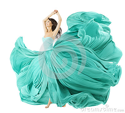 Free Woman Dancing In Fashion Dress, Fabric Cloth Waving On Wind Stock Images - 45227814