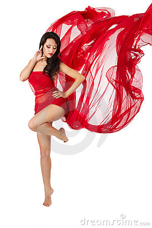 Free Woman Dancing In Red Flying Dress. Over White Royalty Free Stock Photo - 21574575