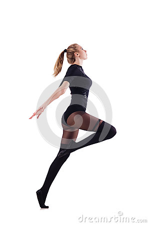 Woman dancing isolated