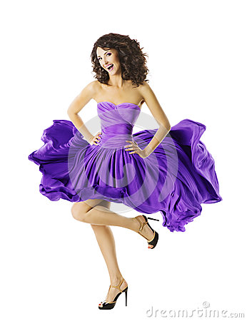 Free Woman Dancing Waving Dress, Young Dancer Girl, Flying Purple Skirt Royalty Free Stock Photo - 53097125