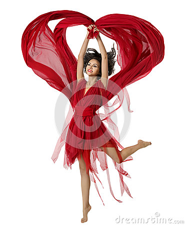 Free Woman Dancing With Heart Shaped Fabric Cloth, Girl Red Dress Royalty Free Stock Photos - 49995148