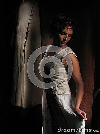 Woman a dark background