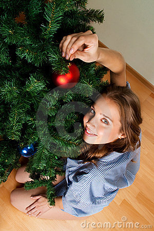 Woman decorate new year