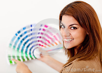 Woman decorating her house