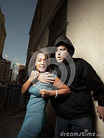 Woman defending herself