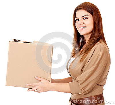 Woman delivering a package