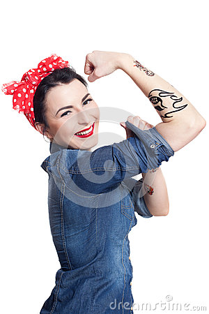 Woman in denim shirt