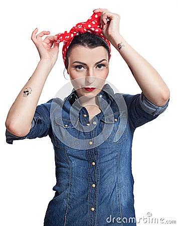 Woman in denim shirt