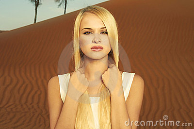 Woman and desert. UAE